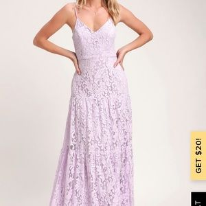 NWOT Lulus FINELY LAVENDER LACE TIERED MAXI DRESS